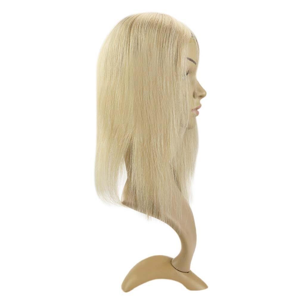 Полный блеск 13*13 см машина сделано Remy моно топперы # p14/60 блонд клип в волосы Топ кусок парик без челки скрытый кусок волос