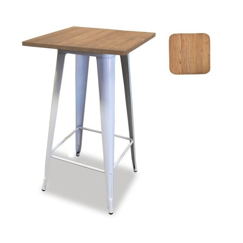 Table TOL, High, Steel, Wood, White, 60x60 Cms