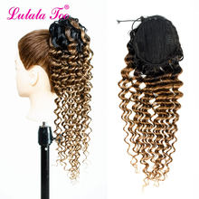 Lulalatoo Ombre Drawstring Ponytail Extensions Human Hair Deep Wave Clip In Long Ponytail For Black Women(China)