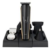 Tondeuse électrique professionnelle en acier inoxydable, rasoir Rechargeable USB pour hommes, rasoir 5 en 1