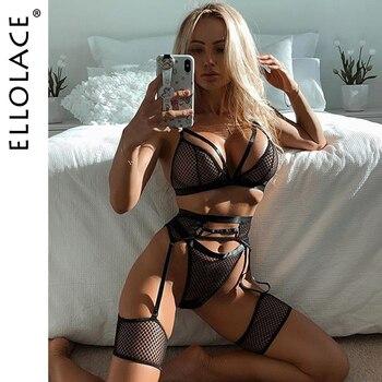 Ellolace-Conjunto de lencería de malla de encaje transparente, conjunto de 3 piezas, lencería Sexy erótica
