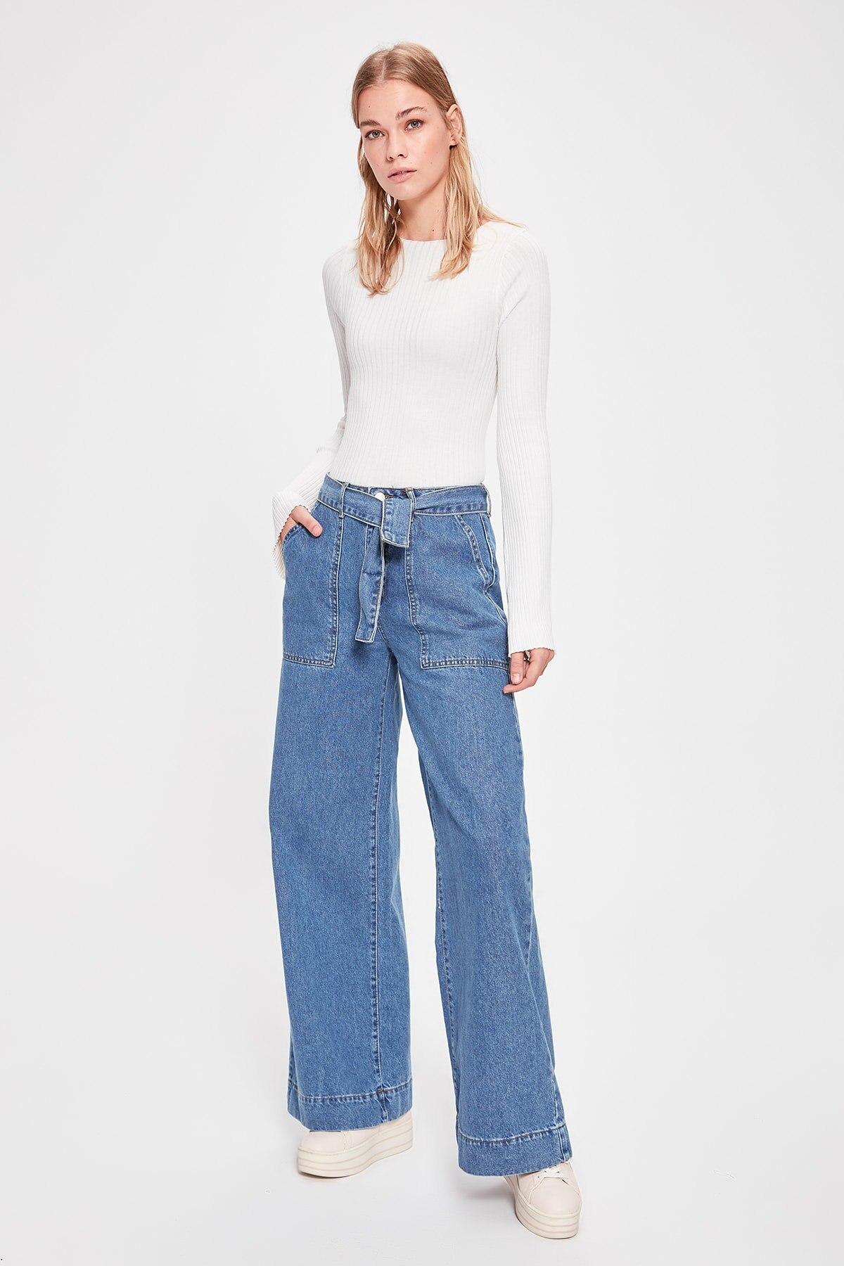 Trendyol Arch High Bel Wide Leg Jeans TWOAW20JE0247