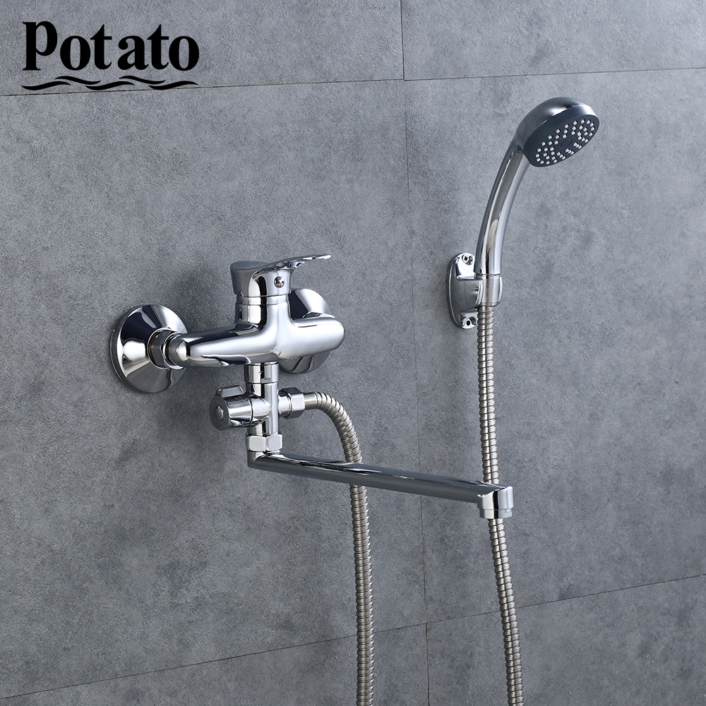 Potato Economic Type Cheap Shower Set With Handheld Wall Mounted Hot Cold Shower Bathroom Mixer Bath Shower Tap P21214