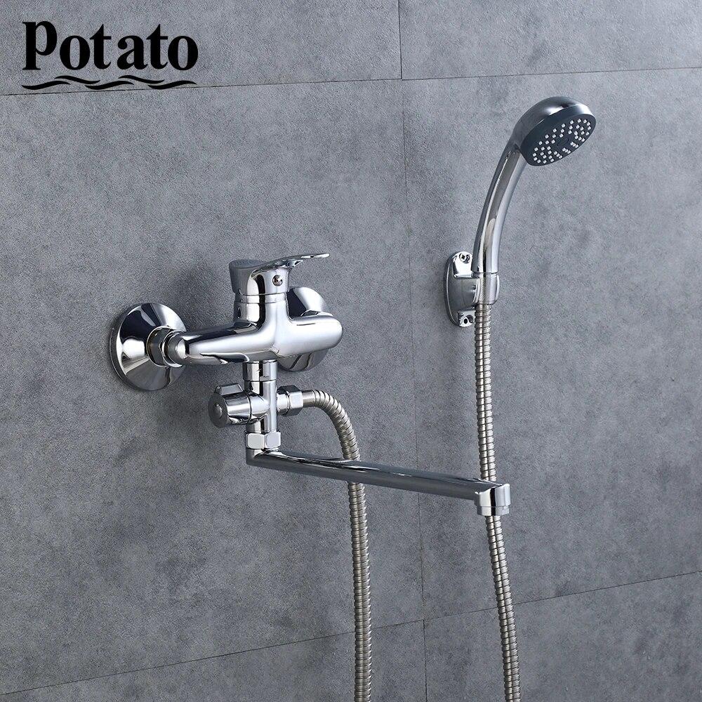 potato type economique pas cher robinet de salle de bain avec poche mural chaud froid douche salle de bain robinet melangeur bain douche p21214