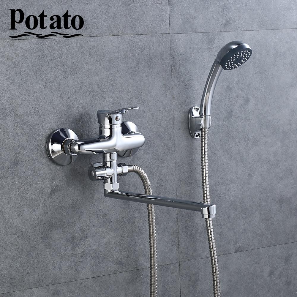 Potato Экономичный Тип  дешевый кран для душевая система с ручным креплением на стену, горячий холодный Душ, смеситель для ванной, Ванна, Душ, p21214|Смесители для душа|   | АлиЭкспресс