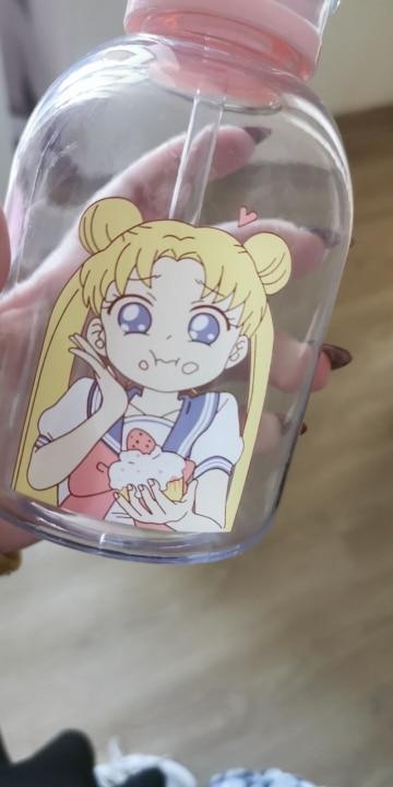 RUIDA Sailor Moon Transparent Plastic water Bottle Cartoon Frosted water Bottles Leak proof Drinkware Cute Student Girl Gift Cup|Water Bottles|   - AliExpress