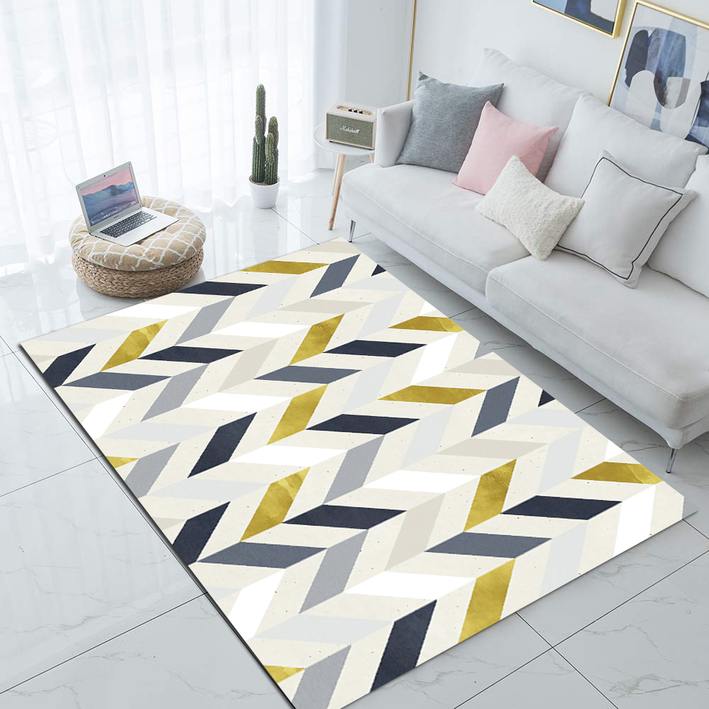 Else Gray Yellow Marble Scandinavian Geometric 3d Print Non Slip Microfiber Living Room Decorative Modern Washable Area Rug Mat