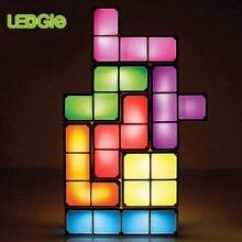 Atualizar diy tetris luz da noite colorido empilhável tangram quebra-cabeças 7 peças led indução bloqueio lâmpada 3d brinquedos presente para o miúdo