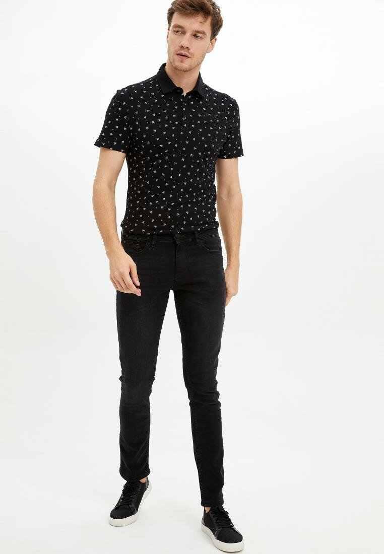 Defacto verão moda lazer dos homens de manga curta padrão geométrico polos camisas masculino casual lapela Polos-K3963AZ19HS