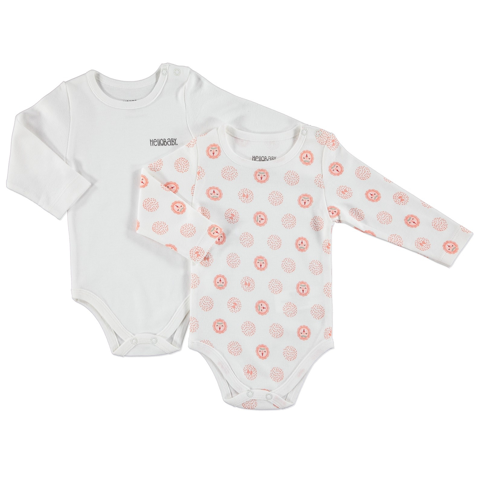 Ebebek HelloBaby Printed Interlock Long Sleeve Snaps Neck Bodysuits 2 Pcs