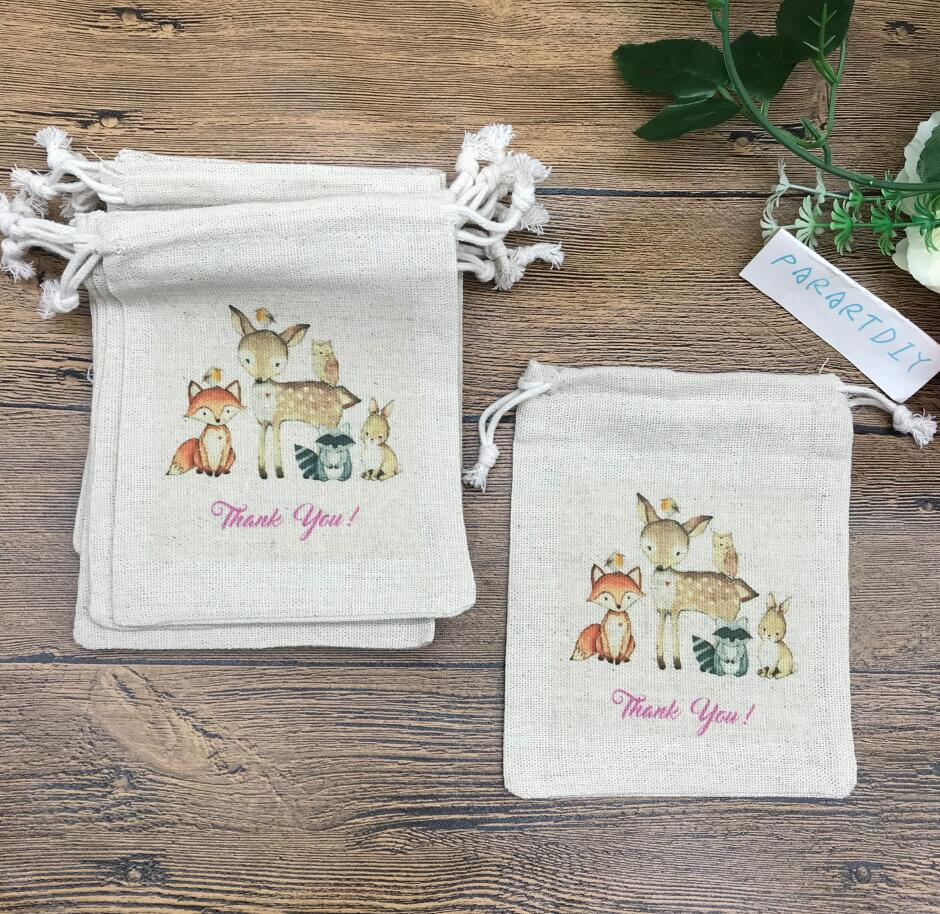 Custom 10pcs Woodland Animals Birthday Favor Bags Candy Bags Gift Bags Forest Baby Shower Favor Bags Woodland Animals