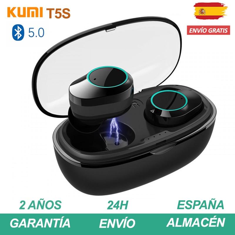 KUMI T5S Auriculares bluetooth inalambrico airpods con micrófono y caja de carga Cascos música Earphone Pinganillo Plaza España|Bluetooth Earphones & Headphones| |  - title=