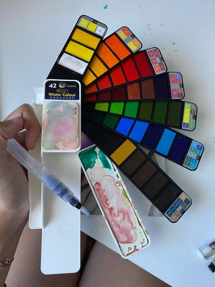 COLOR Box: colorbox Coffret aquarelle 42 couleurs et son stylo pinceau reservoir d'eau