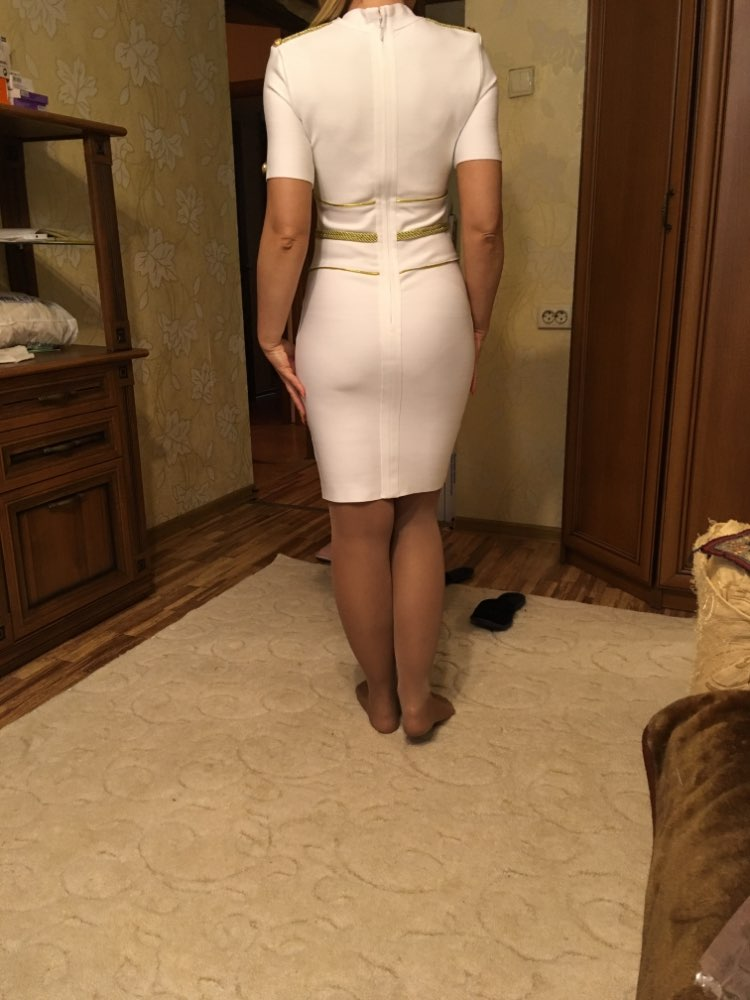 Summer White Bandage Dress Women Elegant Celebrity Evening Party Dress Vestido Sexy Short Sleeve Night Club Dress photo review