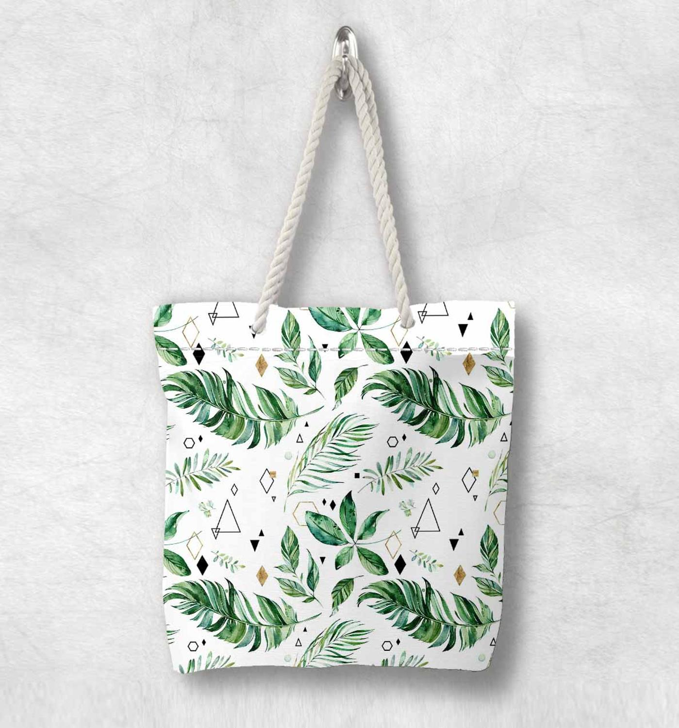 Else White Green Tropical Leaves Floral New Fashion White Rope Handle Canvas Bag Cotton Canvas Zippered Tote Bag Shoulder Bag