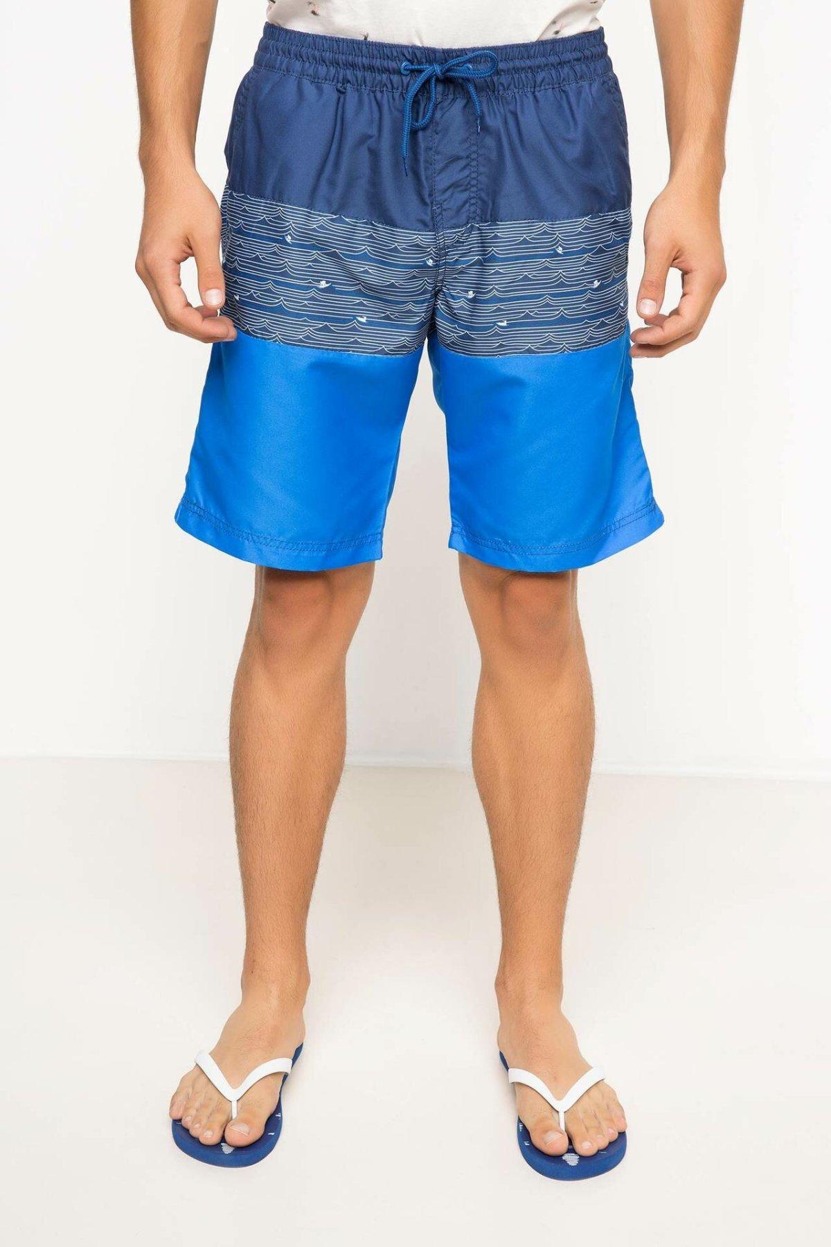 DeFacto Summer Man Woven Swimming Short Male Patchwork Drawstring Shorts Casual Beach Holiday New - G7292AZ17HS