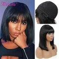FaDaShi Short Bob Wig With Bangs Straight Brazilian Hair Wigs For Women Human Hair Glueless 100%Full Machine Made Human Hair Wig