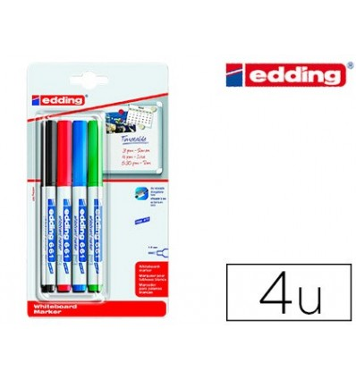 EDDING Marker FOR WHITEBOARD 661 ROUND TOE 1-2 MM BLISTER 4 PCS ASSORTED COLORS RECHARGEABLE
