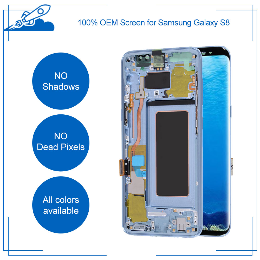 Beste Ori Für <font><b>Samsung</b></font> <font><b>Galaxy</b></font> <font><b>S8</b></font> Super AMOLED Display Mit Touchscreen Digitizer Montage Ersatz KEIN Burn-in Alle farben image