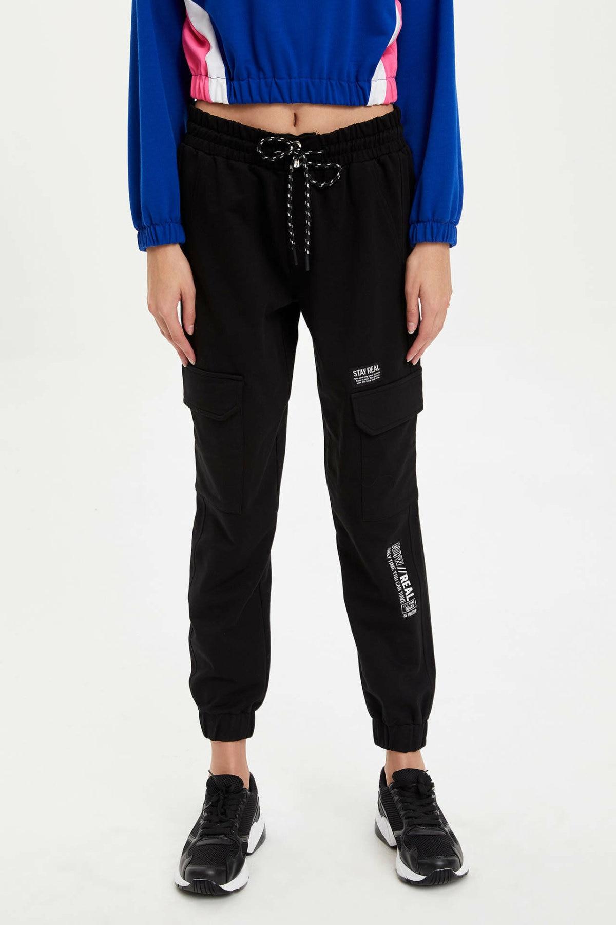 DeFacto New Women Sport Trousers Ladies Casual Loose Pockets Sweatpants Simple Comfort Long Pants Black - L9742AZ19AU