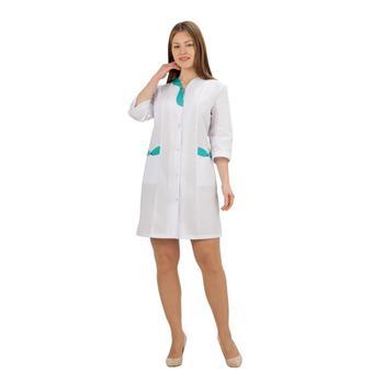 Female medical robe ivuniforma pearl white with green inserts female medical robe ivuniforma olesya white with лиловыми inserts
