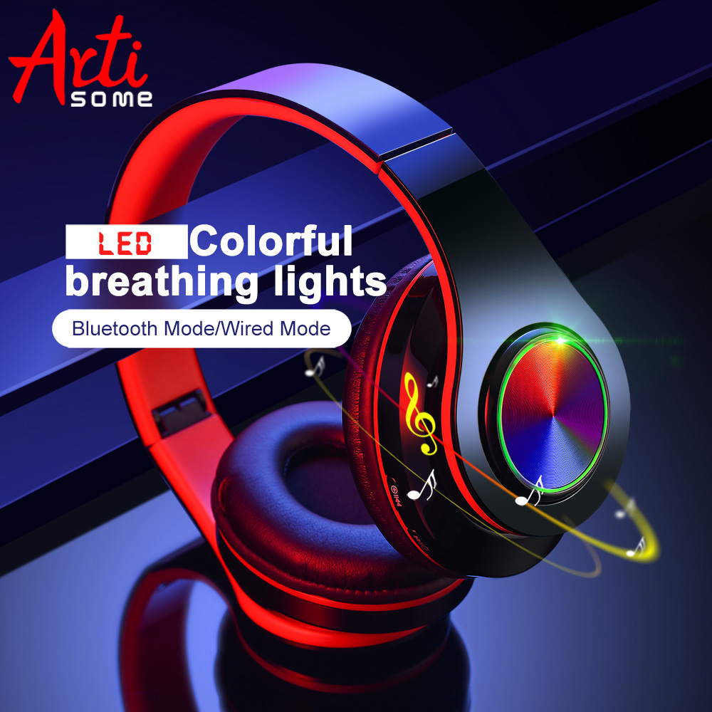 B39 LED Colorful Breathing Lights Portable Folding Built-in FM Wireless Bluetooth Headphones With MIC Support TF Card Mp3 Player(China)