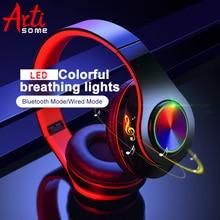 B39 LED צבעוני אורות נשימה נייד מתקפל מובנה FM אלחוטי Bluetooth אוזניות עם מיקרופון תמיכה TF כרטיס Mp3 נגן