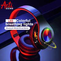 B39 led colorido luzes de respiração portátil dobrável embutido fm sem fio bluetooth fones de ouvido com microfone apoio tf cartão mp3 player
