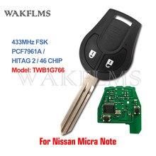 433MHz Remoto Chave Para Nissan Micra 7961A Nota 2014 2015 2016 2017 não é compatível com TWB1U761 TWB1G766