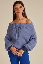 Joinus Frill Neck Knitted Jumper With Tie Detail Woman Lilac