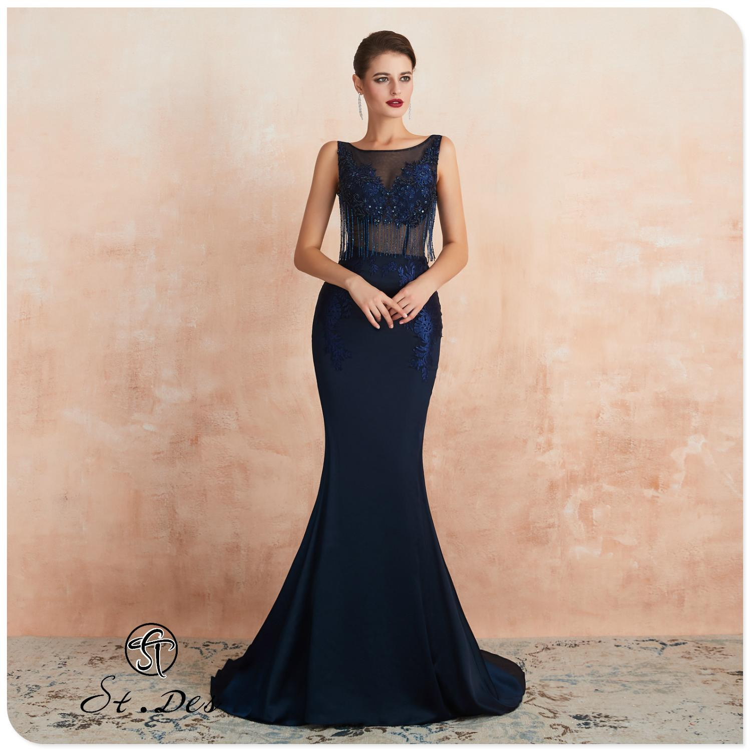 NEW 2020 St.Des Mermaid V-neck Russian Dark Blue Sequins Beading Sleeveless Elegant Floor Length Evening Dress Party Dress