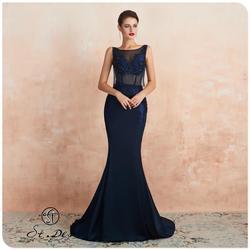 Nuevo 2020 St. Des sirena cuello en V ruso azul oscuro lentejuelas cuentas sin mangas elegante vestido de noche hasta el suelo vestido de fiesta