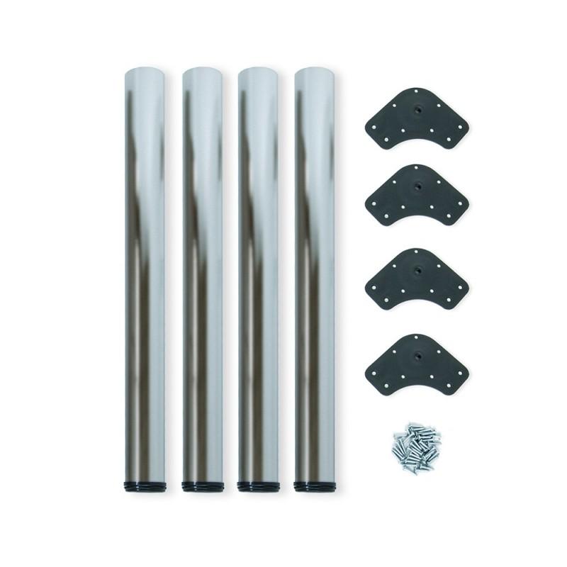 Kit 4 Table Legs Adjustable Emuca D. 60x830mm Painted Steel Satin Nickel