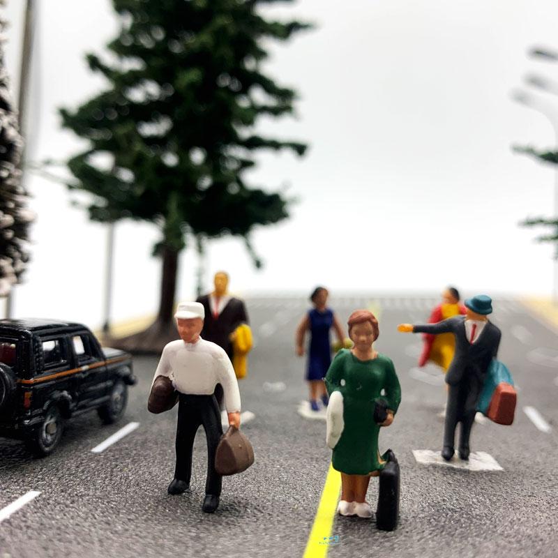 1:87 HO Scale Model Figure Set Passengers Landscape Model Train Railway Layout Scenery DIY  Miniature Dioramas Display Military