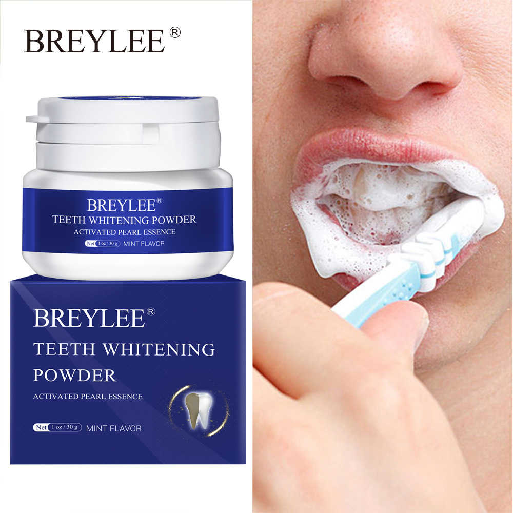 BREYLEE Teeth Whitening Powder Toothpaste Remove Plaque Stains Bleaching Dental Tools Oral Hygiene White Toothbrush Cleaning