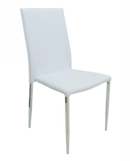 HOTEL Chair, Chrome Similpiel Hard White