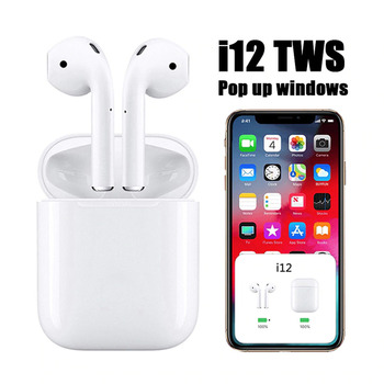 I12 Bluetooth earphones Tws earphone microphone headset wireless with box for charging for sport solar powered bluetooth car earphone with panel magnetic charging for headset at home outdoor with softer
