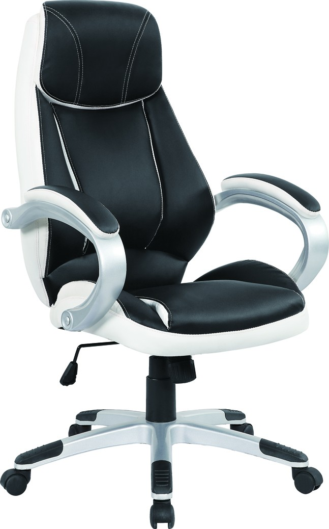 Office Armchair CONSTANCE, High, Gas, Tilt, Similpiel Black And White