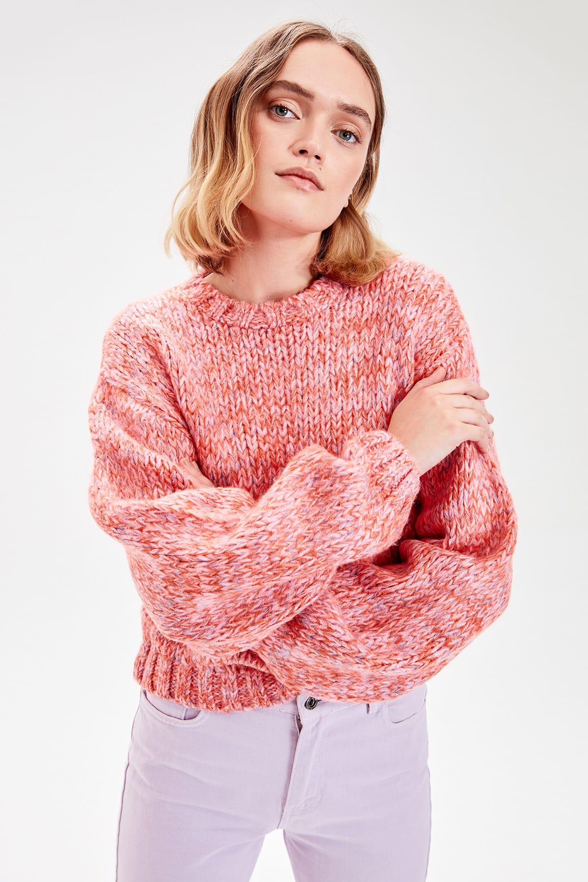 Trendyol Pink Multicolour Sweater Sweater TWOAW20KZ0379