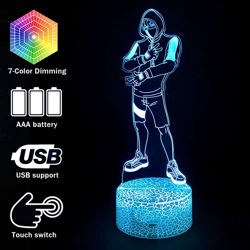 Fortress Night Season 8 Ikonik Skin Model 3D illusion Lamp Battle Royale Decoration Night Lights Ikonik Figurine Table Lamps image