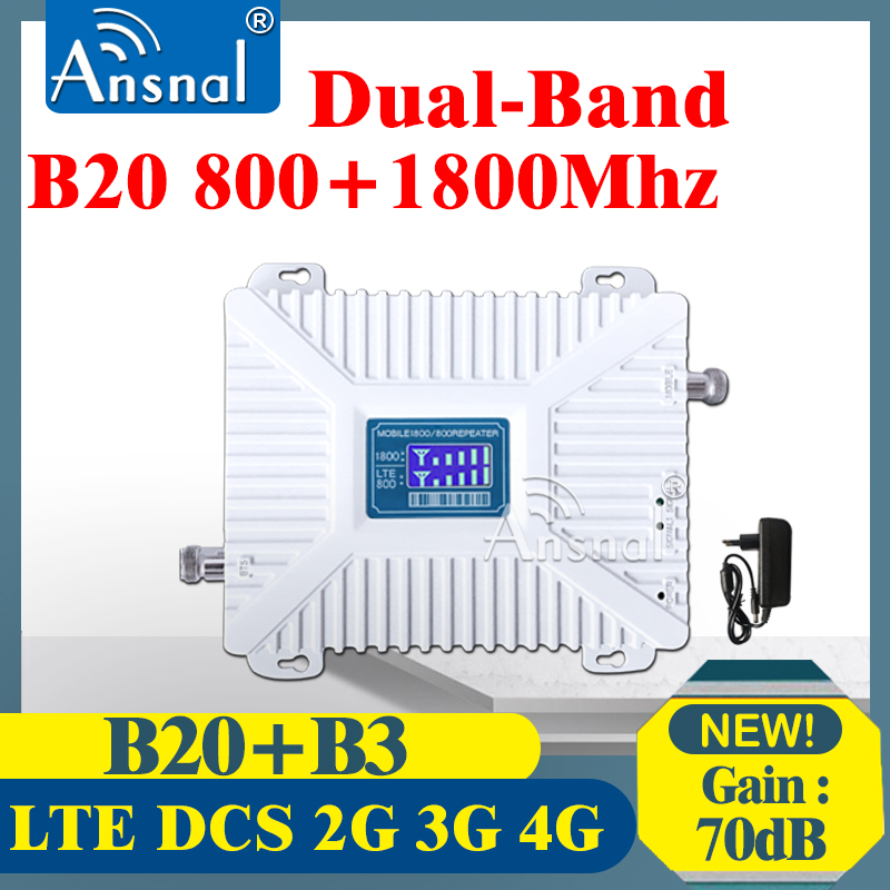 1PCS Repeater 4G B20 800 1800 Dual-Band Cellphone Cellular Booster GSM Cellular Amplifier 2g3g 4g Network Signal Booster LTE DCS
