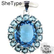 27x19mm Real 925 Solid Sterling Silver 3.9g London Blue Topaz SheType Present Pendant