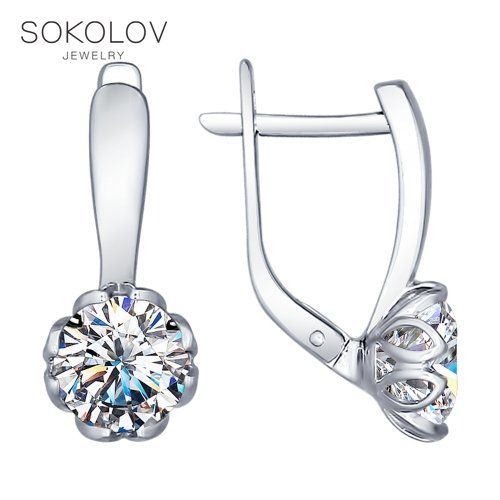 Boucles d'oreilles SOKOLOV en argent avec Swarovski zircone bijoux fantaisie 925 femme homme