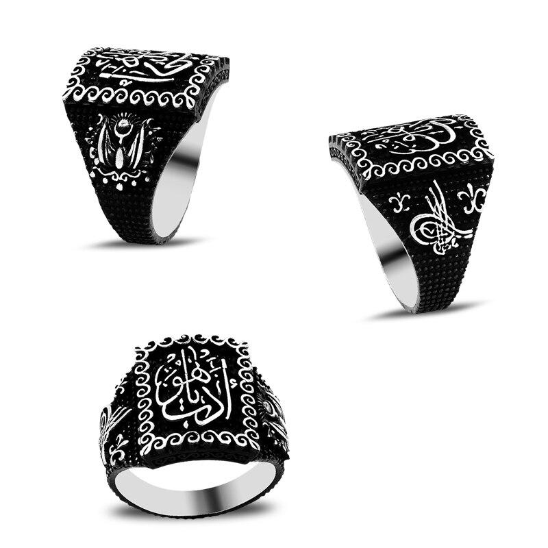 925 Silver Religious Letter Printed Rings for Men