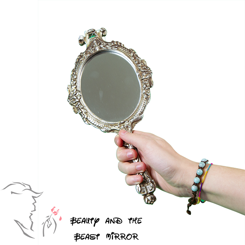 """Hand Mirror """"Beauty And The Beast"""" Silver Antiqued-Designed In Italy"""