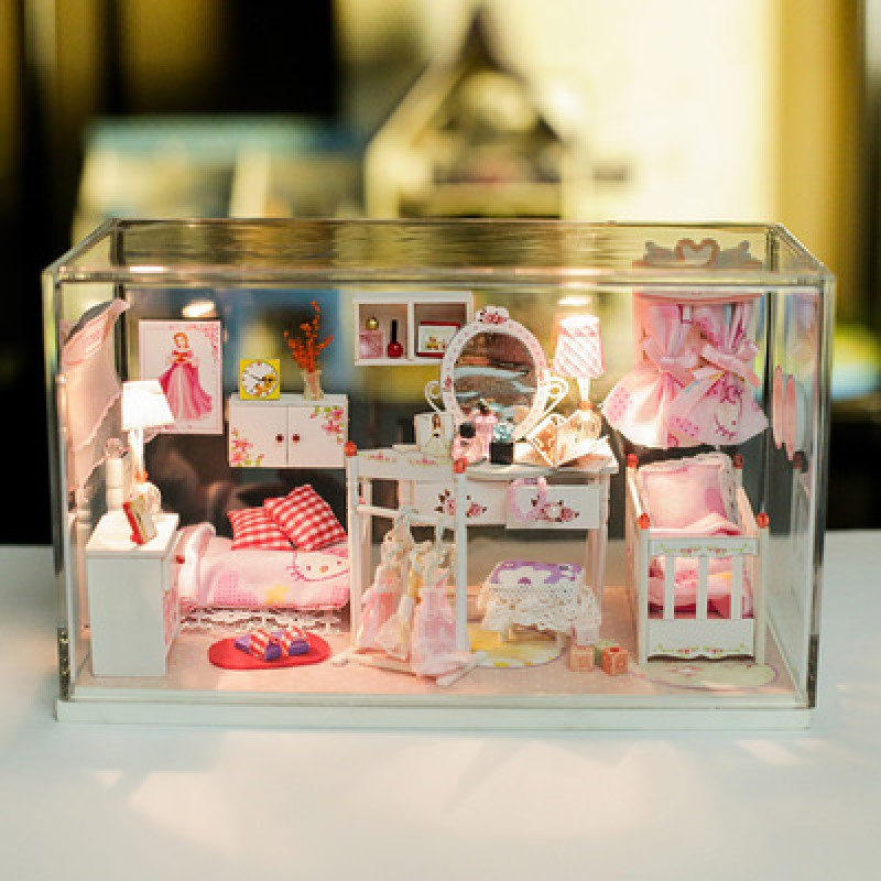 Model DIY House Pink Dream Princess Room Assembled Jigsaw Puzzle Handmade Childrens Toys model doll house.