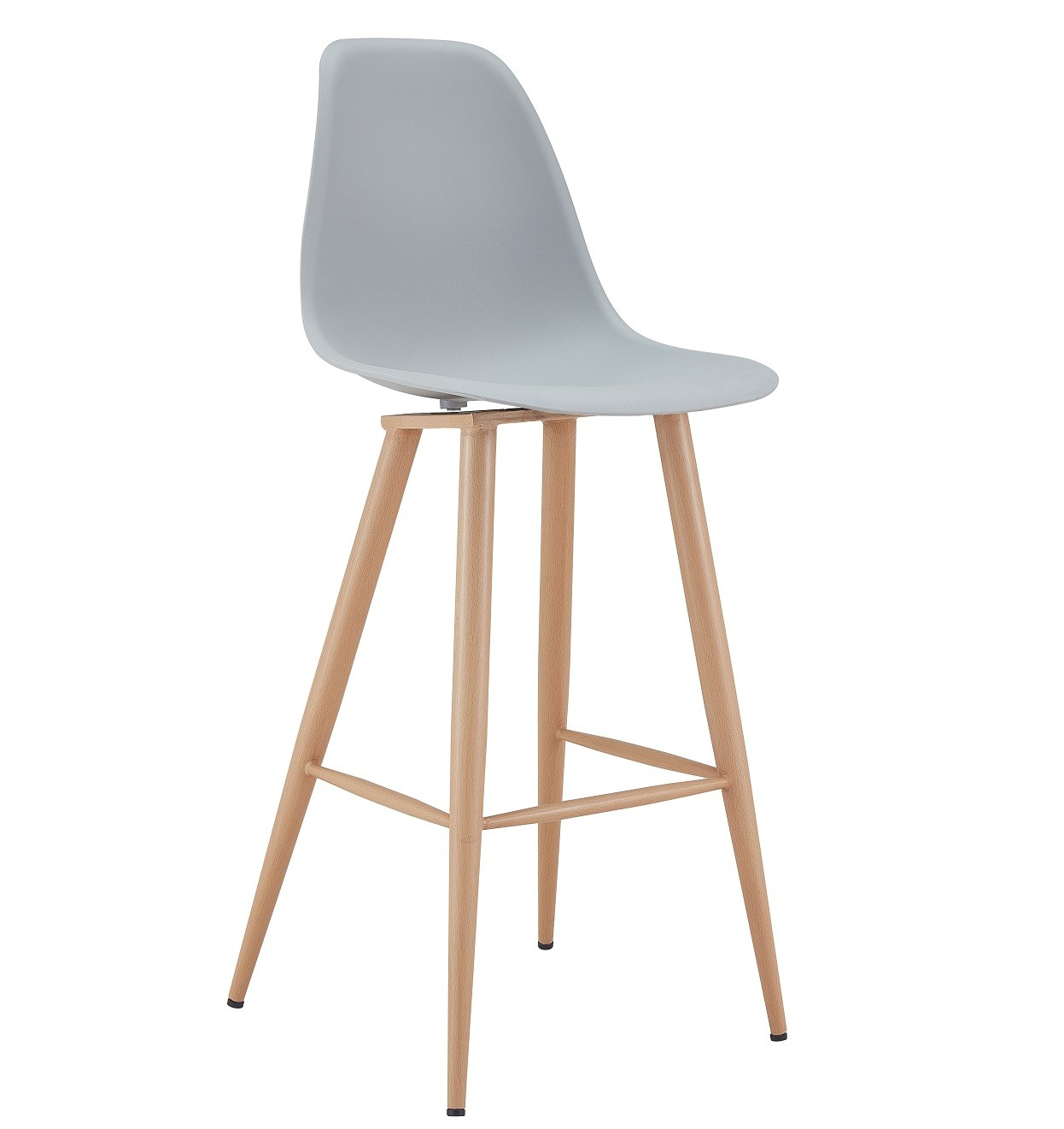 Stool CLUNY, Metal Wood Color, Polypropylene Gray