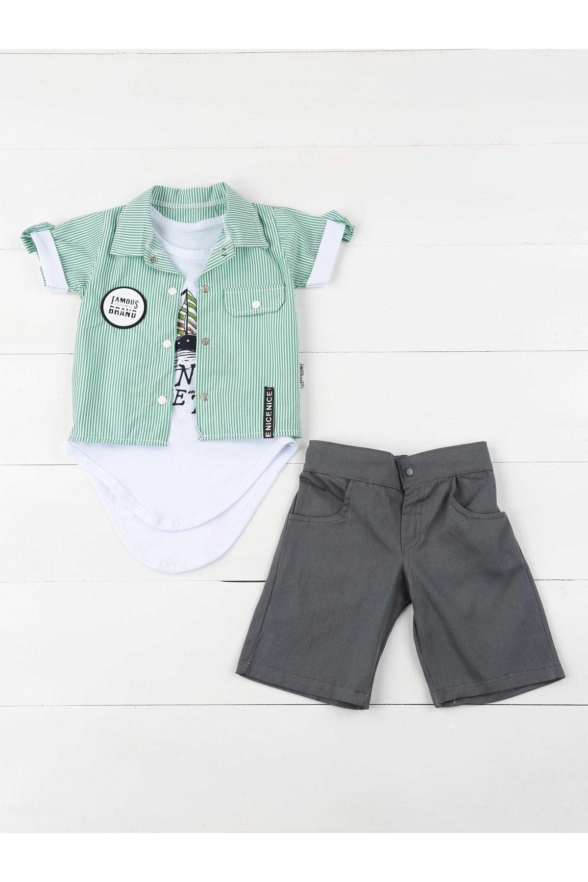 Green Smoked Summer Baby Boy PCs Set Suit