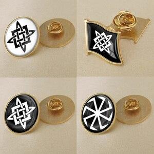 Svarogs Slavic Star Symbol Flag Brooch/Badges/Lapel Pins