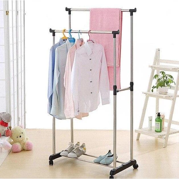 80x42x80(160) см двойная напольная стойка для одежды Мобильная многофункциональная стойка вешалка на колесах из нержавеющей стали|Подставки для хранения и стеллажи|   | АлиЭкспресс